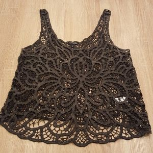 Express Cotton Lace Gray Top